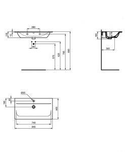 Черен умивалник за мебел Ideal Standard Connect Air E0279V3 84см.