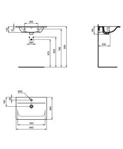 Черен умивалник за мебел Ideal Standard Connect Air E0289V3 64см.
