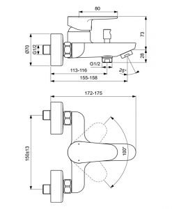 IDEAL STANDARD Смесител за вана/душ Cerafine O Grande BC500XG