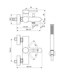 IDEAL STANDARD Смесител за вана/душ с аксесоари Ceraline BC270XG