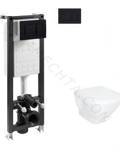 Kомплект окачена тоалетна и структура FAYANS HAPPY SMART с черен бутон