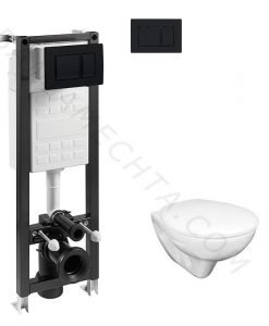 Kомплект окачена тоалетна NEO CLEAN RIM и структура с черен мат бутон