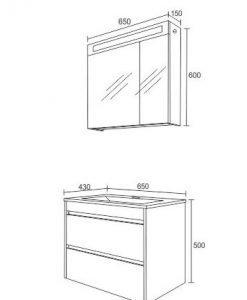 PVC шкаф комплект за баня ЕМА бял 65