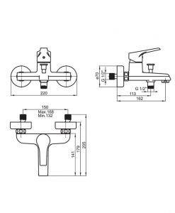 Смесител за вана/душ FAYANS HELIOS-N WQ3W23900041014 с аксесоари