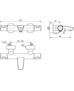 Термостатен смесител с чучур Ideal Standard CERATHERM T25 A7544XG