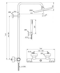 Термостатна душ колона Ceratherm T25 BC748XG