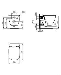 TESI Конзолна тоалетна чиния AquaBlade® с капак Soft Close черен мат T0079V3