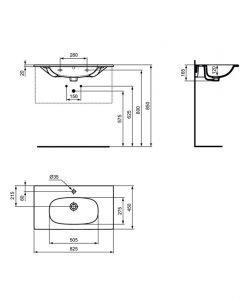 Умивалник черен мат IDEAL STANDARD TESI VANITY 82,5см T3509V3