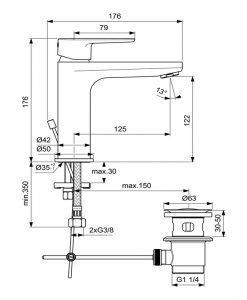 IDEAL STANDARD Смесител за мивка с изпразнител Cerafine O Grande BC699XG
