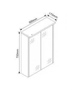 Огледален PVC шкаф за баня с осветление ICMC 5017-70