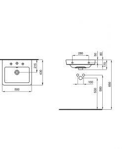 Порцеланов умивалник за стенен монтаж или мебел A3270J3000 ROCA CASERTA 50