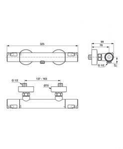 Термостатен смесител за душ IDEAL STANDARD Ceratherm T50 A7214AA