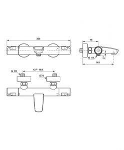 Термостатен смесител за вана/душ IDEAL STANDARD Ceratherm T50 A7223AA