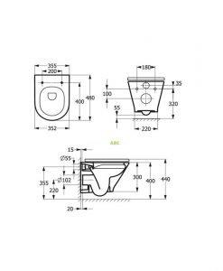 Окачена тоалетна Roca The Gap ROUND COMPACT RIMLESS 48см A3460NB000+A801D22003 Slim Soft Close